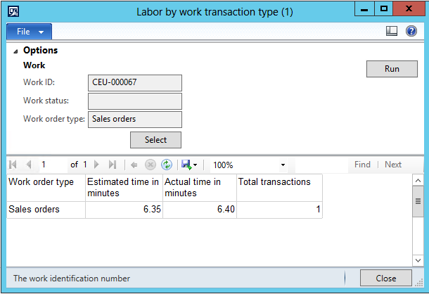 SSRS Report: Labor by work transaction type